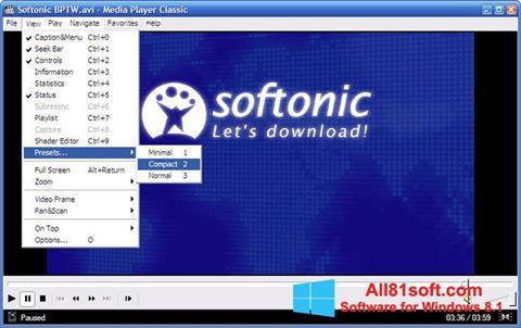 Skärmdump Media Player Classic för Windows 8.1