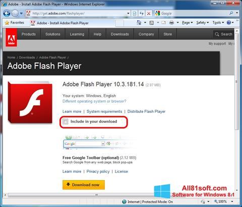 Skärmdump Adobe Flash Player för Windows 8.1