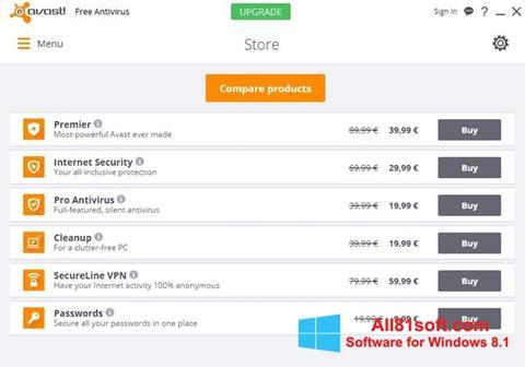 Skärmdump Avast Free Antivirus för Windows 8.1