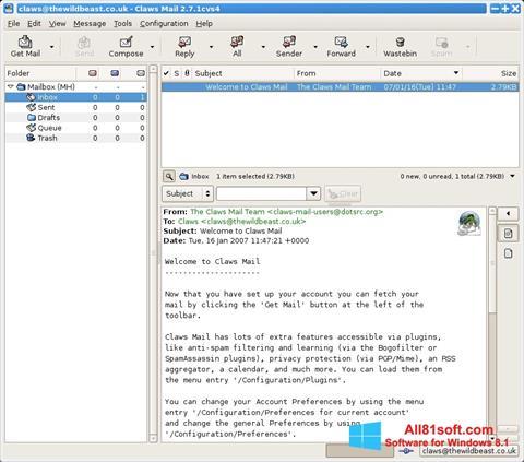 Skärmdump Claws Mail för Windows 8.1