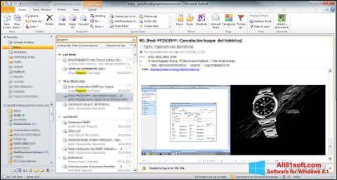 Skärmdump Microsoft Outlook för Windows 8.1