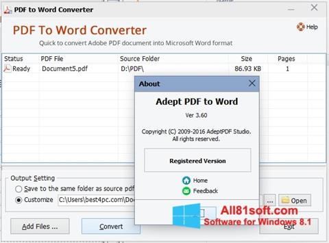Skärmdump PDF to Word Converter för Windows 8.1