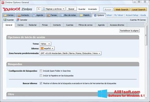 Skärmdump Zimbra Desktop för Windows 8.1